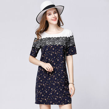 Plus Size Flower Casual Dress Women Summer Short Sleeve Contrast Pieced Lace Spliced Floral Printed Dresses xl to 5xl