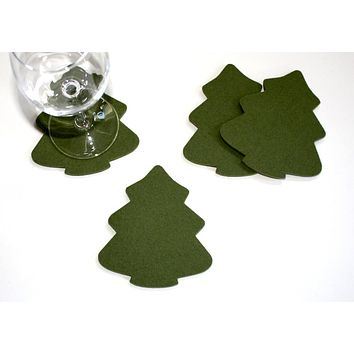 Christmas Tree Holiday Wool Felt Coasters - 5mm Thick