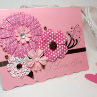 Summer Love Card - I Love You - Bouquet of Pink Flowers