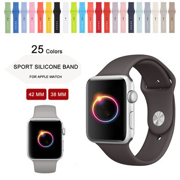 New Colors Ocean blue/Concrete/Cocoa/Pink sand Silicone Strap For Apple Watch Band 42mm 38mm Series 1 & 2 For Apple Watch Strap