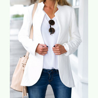 Fashion Solid color stand collar cardigan coat