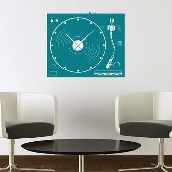 Turntable Wall Decal Clock