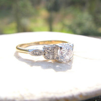 Charming Diamond Engagement Ring, Wonderful Late Art Deco to Early Retro Design, approx .40 carats, English