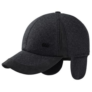 new 56-60cm baseball cap with earflaps elderly men winter faux wool tweed dad hat thick warm ear protection cap dark gray black