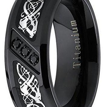 8mm Black Titanium Wedding Ring Band with Dragon Design Over Carbon Fiber Inlay