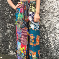 Patchwork Wild legs Pants Gypsy Hippies Boho Bohemian style Festival Colorful fashion Clothing Harem palazzo pants Beach Trousers gife women