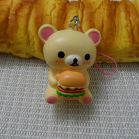 Cute Rare Rilakkuma  san-x  Squishy cell phone Charm imitation bun with diamant dust plug
