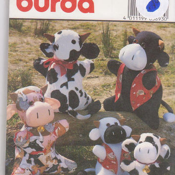 """Pattern for stuffed toy cow in 2 sizes 10"""" tall and 13.75"""" tall with optional vest Burda 3893 UNCUT"""