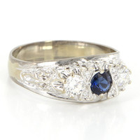 Vintage 14 Karat White Gold Diamond Sapphire Three Stone Trilogy Ring Estate