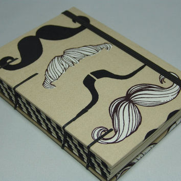Handmade Fabric Journal Coptic Stitched Mustache by BBhandmades