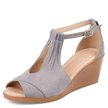 Buckle Wedges Platform High Heels Sandals Women Shoes