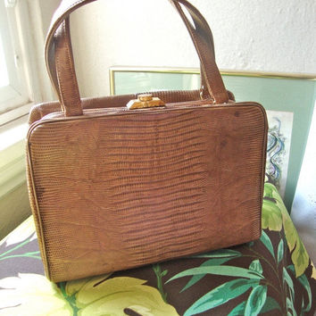 ON SALE Bellestone Lizard Handbag Pink Interior