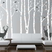 Birch Tree Wall Decal Forest with Snow Birds by innovativestencils