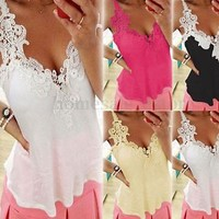 10 Colors S-4XL Sexy Women V Neck Cami Floral Lace Blouse Tank Vest Shirt Tops