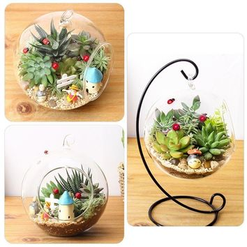 Hanging Glass Vase Flower Container Home Terrarium Planter Clear Plant Decor