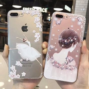 Luxury Bling Rhineston Soft TPU Case for iphone 6 6s 6plus  Ballet Girl Flowers Painted Phone Case For iphone 7 8 plus