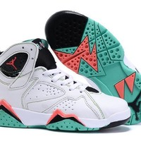 Nike Jordan Kids Air Jordan 7 Retro White/Black/Green Kids Sneaker Shoe US 11C - 3Y