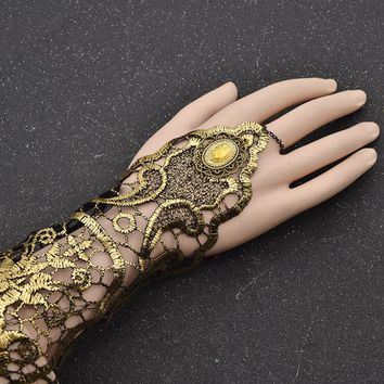 fashion lychee Sexy Women Ladies Steampunk Goth Gold Lace Floral Finger Bracelet Wedding Party Costume Jewelry