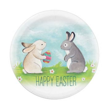 Happy Easter party paper plate