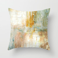 Brown and Green Abstract Art Painting Throw Pillow by T30 Gallery