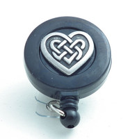 Retractable ID Badge Reel Celtic Heart Pewter Button on Black Badge Reel - Belt Clip