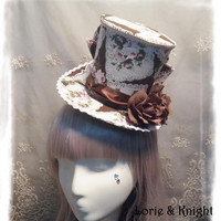 Vintage Floral Printing Big Bow Lolita Cosplay Mini Top Hat with Flower for Ladies