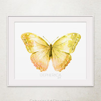 Yellow Butterfly art print, Butterfly wall art, Baby yellow decor, Yellow art 8x10 Printable wall art print, Room decor Yellow Nursery decor