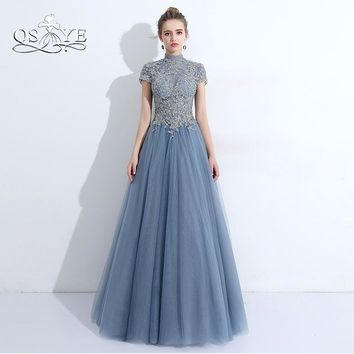 QSYYE 2018 New Arrival Long Prom Dresses High Neck Silver Lace Beaded Floor Length Tulle Open Back Evening Party Gown Custom
