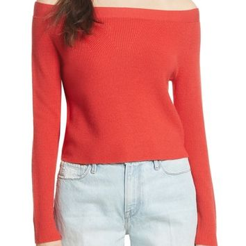 FRAME Off the Shoulder Crop Sweater | Nordstrom