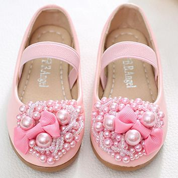 Kitiin Kids Flower Girls Shoes Fancy Children's Ballet Shoes For Girl Beaded Princess Wedding Shoes Girls Ballerinas For Teen