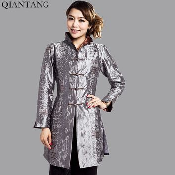 Gray Traditional Chinese style Ladies Jacket Mujer Chaqueta Women Satin Embroidery Coat Size S M L XL XXL XXXL 4XL 5XL Mny001B