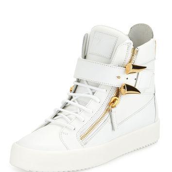 Side-Horn Leather High-Top Sneaker, White
