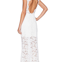 RACHEL ZOE Estelle Cutout Back Maxi Dress in White