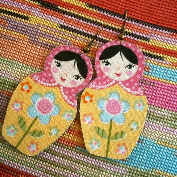 Bohemian Style Earrings - Russian Doll Fabric Earrings - Yellow Floral Body, Pink Polka Dot Shawl, Black Hair - Hippie - Flower Power