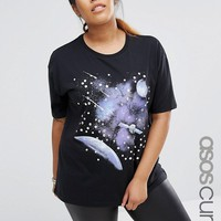 ASOS CURVE T-Shirt with Retro Space Scape and Gem Detail at asos.com