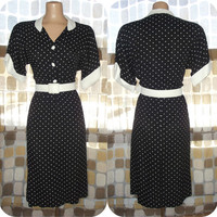 Vintage 80s Retro 50s Black & White Polka Dot Sexy Secretary Dress Belted Straight Sweep Pin-Up VLV M/L