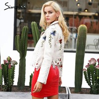 Embroidery floral faux leather jacket White basic jackets outerwear coats Women casual winter jacket female coat