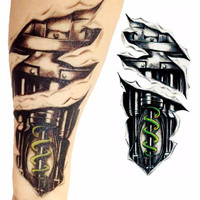 New 3D Waterproof Robot Arm Temporary Tattoo Stickers Body Art Removable Tatoo A1