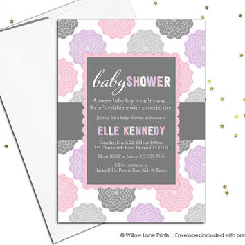 Digital baby shower invitations for a girl - flower baby shower invites pink gray purple baby shower, baby girl shower invitation - WLP00776