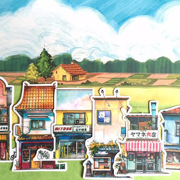 shop House home store sticker cartoon houses vintage building farm hamlet village flake sticker countryside toy house little house sticker