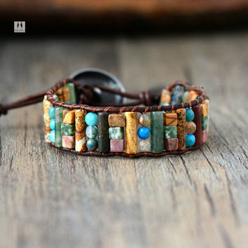Unique Tube Shape Natural Jasper Agate Single Leather Wrap Bracelet Semi Precious Stone Beaded Cuff Bracelet Women Boho Bracelet
