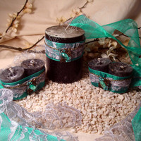 Black Jasmine Dream Candle Votive and Pillar Set - Prophetic Dreaming, True Dreaming - Pagan, Wiccan, Occult, Witchcraft