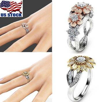 Fashion Womens Sunflower Silver/Rose Gold Plated Zircon Ring Wedding Jewelry USA