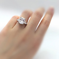 3.90 ct. Center Engagement Ring-Antique Cushion Cut Diamond Simulant-Bridal Ring-Wedding Ring-Anniversary Ring-Sterling Silver [3714]