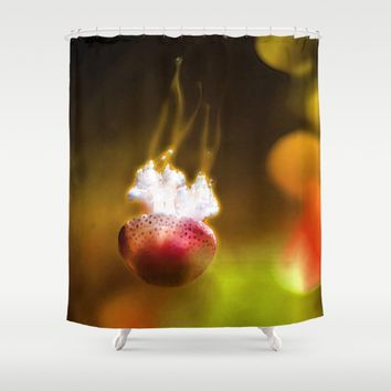 Jellyfish Through the Raging Fire Shower Curtain by Distortion Art