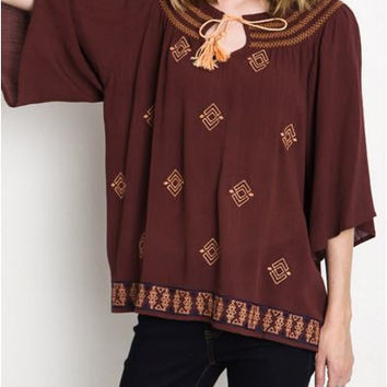 Toasted Delight Umgee Blouse with Tassel -Azuki