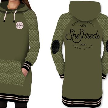 Quilted Tech Hoodie - Tall Fit - Green & Black