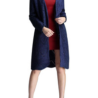 Navy Cut out Knit Cardigan