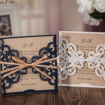 50pcs/set free envelop and free seal Elegant Floral laser Cut pocket Wedding Invitation with tie CW6175