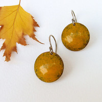Enamel earrings yellow mustard copper sterling silver round autumn fashion artisan by Alery